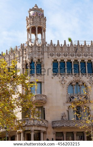 BARCELONA - SEPTEMBER 19, 2014: The Casa Lleo Morera is a building designed by noted modernisme architect Lluis Domenech i Montaner, located at Passeig de Gracia in the Eixample district of Barcelona.