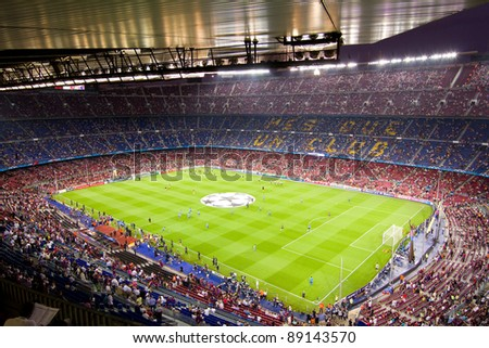 BARCELONA - SEPTEMBER 13: View of Camp Nou stadium before the Champions League match between FC Barcelona and AC Milan, final score 2 - 2, on September 13, 2011, in Barcelona, Spain. - stock photo