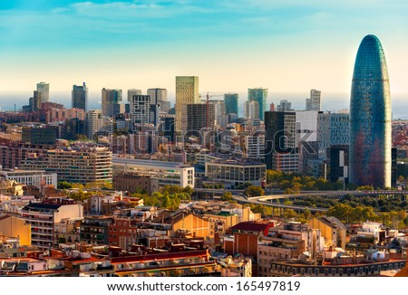 Barcelona skyline. - stock photo