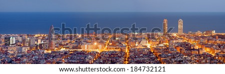 Barcelona skyline panorama at the Blue Hour - stock photo