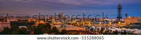 Barcelona, Spain. Aerial view of port with sea and colorful sunset cloudy sky. Famous landmarks in Barcelona the capital of Catalonia, Spain