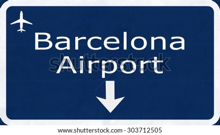 Barcelona Spain Airport Highway Sign 2D Illustration - stock photo