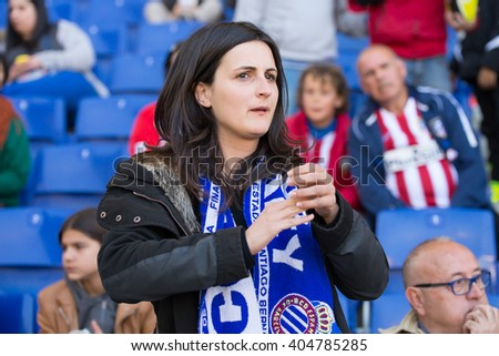 BARCELONA, SPAIN - APR 9: Fans at the La Liga match between RCD Espanyol and Atletico de Madrid at the Powerade Stadium on April 9, 2016 in Barcelona, Spain. - stock photo