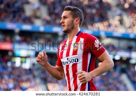 BARCELONA, SPAIN - APR 9: Koke Resurreccion plays at the La Liga match between RCD Espanyol and Atletico de Madrid at the Powerade Stadium on April 9, 2016 in Barcelona, Spain. - stock photo