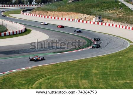 BARCELONA, SPAIN - APR 4: Le Mans series race at Montmelo Circuit de Catalunya on April 4, 2009 in Barcelona, Spain. - stock photo