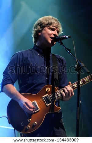 BARCELONA, SPAIN - APR 9: Matthew Caws, singer and guitarist of Nada Surf band, performs at Jack Daniel's Music Day Festival on April 9, 2011 in Barcelona, Spain.
