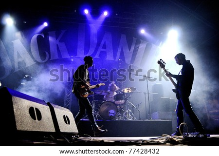 BARCELONA, SPAIN - APR 9: We Are Scientists band performs at Jack Daniel's Music Day Festival on April 9, 2011 in Barcelona, Spain. - stock photo
