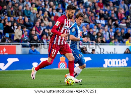 BARCELONA, SPAIN - APR 9: Yannick Ferreira Carrasco plays at the La Liga match between RCD Espanyol and Atletico de Madrid at the Powerade Stadium on April 9, 2016 in Barcelona, Spain.