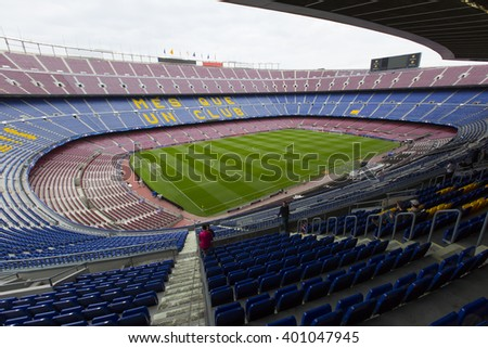 Barcelona, Spain - April 04, 2016: A general view of the Camp Nou Stadium just one day before of the match between Futbol Club Barcelona and Atlético Madrid Champions League quarter final.