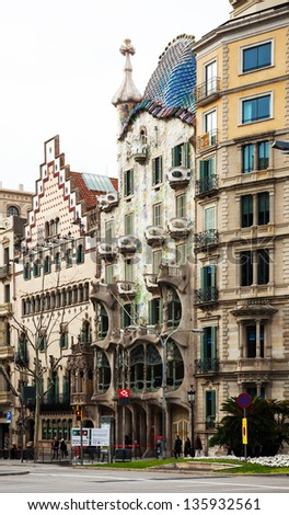 BARCELONA, SPAIN - APRIL 8: Casa Batllo and Casa Amatller in April 8, 2013 in Barcelona, Spain. Casa Batllo was built in 1904 by  Antoni Gaudi,  Casa Amatller in 1900 by  Josep Puig i Cadafalch - stock photo