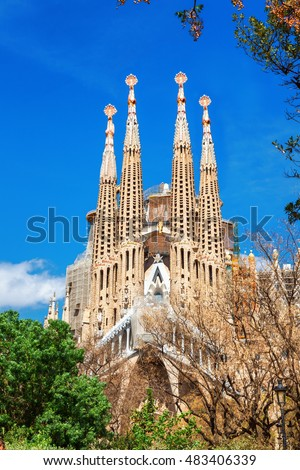 Barcelona, Spain - April 18, 2016: Cathedral of La Sagrada Familia. It is designed by architect Antonio Gaudi and is being build since 1882.