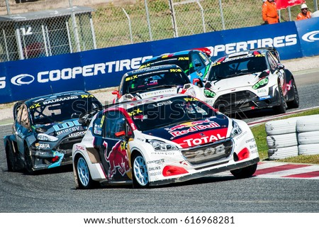 Barcelona, Spain - April 2, 2017: FIA World Rallycross that celebrates at Circuit of Barcelona Catalunya.