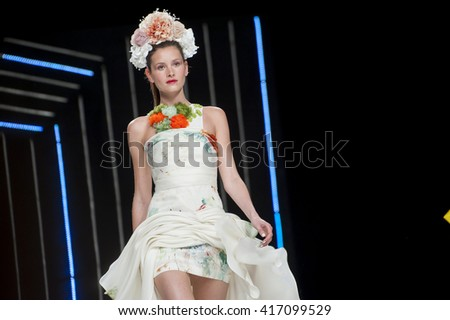 BARCELONA, SPAIN - APRIL 27, 2016: Isabel Sanchis catwalk during Barcelona Bridal Fashion Week 2016.
