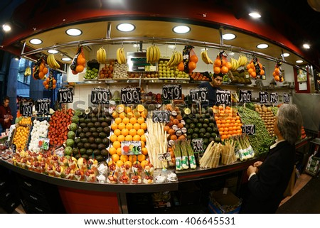Barcelona, Spain - April 05, 2016:La boqueira in barcelona is a place where hundreds of people every day buy fresh vegetable, fruit and other articles.