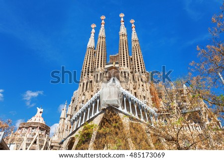 Barcelona, Spain - April 18, 2016: Main facade and details of Cathedral of La Sagrada Familia. It is designed by architect Antonio Gaudi and is being build since 1882.