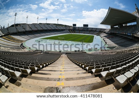 Barcelona, Spain - April 08, 2016:Olympic Stadium on mountain Montjuic. The stadium was renovated in 1989 to be the main stadium for the 1992 Summer Olympics. - stock photo