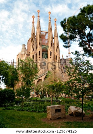 BARCELONA, SPAIN - APRIL 26: Sagrada Familia on April 26, 2012 in Barcelona. Spain's most famous religious building. Construction is still taking place many years after Antonio Gaudi's death. - stock photo