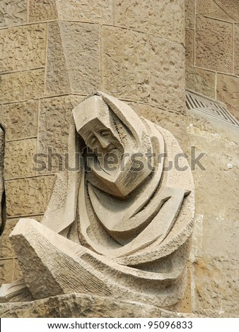 BARCELONA, SPAIN, AUG 23: Basilica and Expiatory Church of the Holy Family, which is being build since 19 March 1882 and is not finished yet Aug 23, 2010. - stock photo