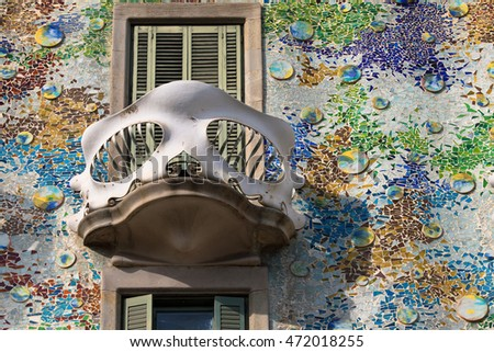 Barcelona, Spain - August 17, 2016: Balcony in the shape of mask from the Casa Batllo, designed by Antoni Gaudi in 1904, in Barcelona, Spain.