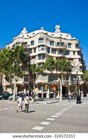 BARCELONA, SPAIN - AUGUST 15: Casa Mila on August 15, 2010 in Barcelona, Spain. This famous building was designed by Antoni Gaudi, included in the list of UNESCO.