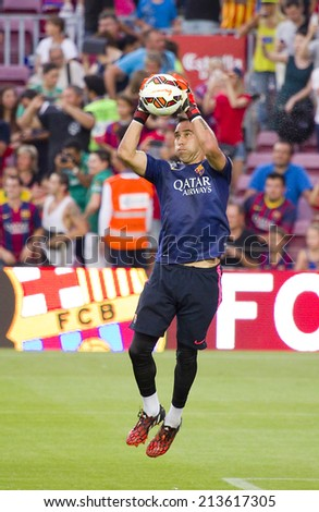 BARCELONA, SPAIN - AUGUST 18: Claudio Bravo of FCB in action at Gamper friendly match between FC Barcelona and Club Leon FC, final score 6-0, on August 18, 2014, in Camp Nou, Barcelona, Spain. - stock photo