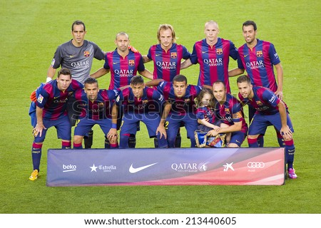 BARCELONA, SPAIN - AUGUST 18: FCB players posing for photos at Gamper friendly match between FC Barcelona and Club Leon FC, final score 6-0, on August 18, 2014, in Camp Nou, Barcelona, Spain. - stock photo