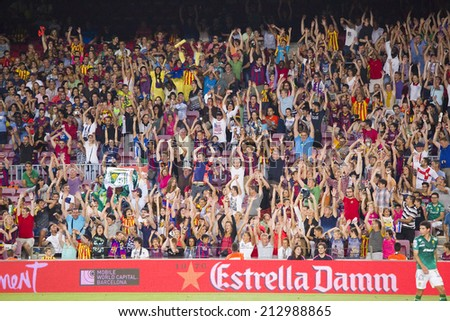 BARCELONA, SPAIN - AUGUST 18: FCB supporters at Gamper friendly match between FC Barcelona and Club Leon FC, final score 6-0, on August 18, 2014, in Camp Nou, Barcelona, Spain. - stock photo