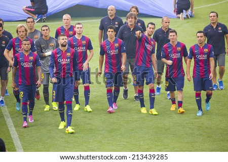 BARCELONA, SPAIN - AUGUST 18: FCB team presentation in front of the home supporters before Gamper match between FC Barcelona and Club Leon, 6-0, on August 18, 2014, in Camp Nou, Barcelona, Spain. - stock photo