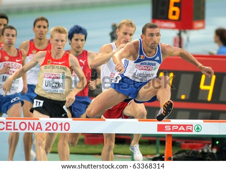 BARCELONA, SPAIN - AUGUST 01: Ion Luchianov of Moldova competes on 3000m steeplechase Final of the 20th European Athletics Championships at the Olympic Stadium on August 1, 2010 in Barcelona, Spain - stock photo