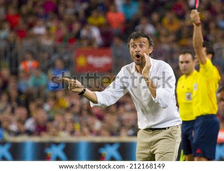 BARCELONA, SPAIN - AUGUST 18: Luis Enrique, coach of FCB, at Gamper friendly match between FC Barcelona and Club Leon FC, final score 6-0, on August 18, 2014, in Camp Nou, Barcelona, Spain. - stock photo
