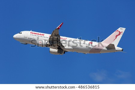 Barcelona, Spain - August 21, 2016: Tunisair Airbus A320-200 taking off from El Prat Airport in Barcelona, Spain.