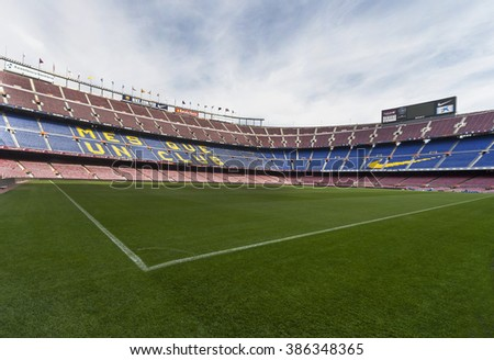 BARCELONA,SPAIN-CIRCA MARCH 2015: at Camp Nou stadium - the official playground of FC Barcelona