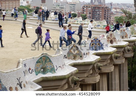 BARCELONA, SPAIN - CIRCA OCTOBER 2013: Terrace on Park Guell covered with a crowd of tourists
