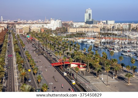Barcelona, Spain. City avenue panoramic view.