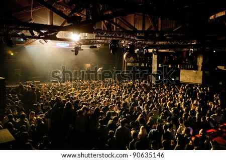 BARCELONA, SPAIN - DEC 10: Friendly Fires band performs at Razzmatazz on December 10, 2011 in Barcelona, Spain. - stock photo