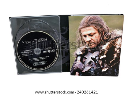 BARCELONA, SPAIN - DEC 27, 2014: Game of Thrones, a famous television series created for HBO, on Blu-Ray disc edition, with Ned Stark (Sean Bean) on its cover, isolated on white background.