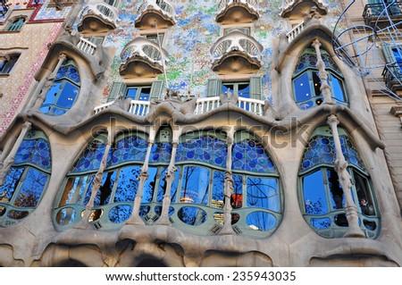 BARCELONA, SPAIN - DECEMBER 7: Facade of the Casa Batllo by Gaudi in Barcelona on December 7, 2014. Barcelona is the capital city of Catalonia, Spain.  - stock photo