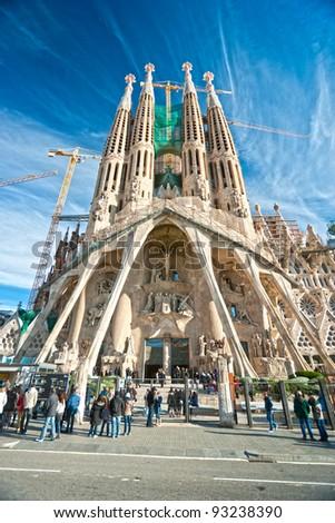 BARCELONA, SPAIN - DECEMBER 14: La Sagrada Familia, the impressive cathedral designed by Gaudi, which is unfinished on December 14, 2009 in Barcelona, Spain. - stock photo