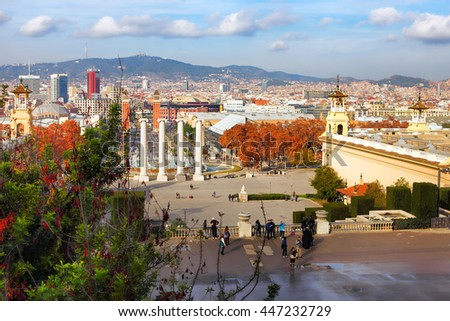 BARCELONA, SPAIN - december 12, 2015:Montjuic fountain on Plaza de Espanya in Barcelona, Spain - stock photo