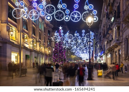 BARCELONA, SPAIN - DECEMBER 2: Night view of Barcelona on December 2, 2013 in Barcelona, Spain. Christmas decorations on Portal del Angel