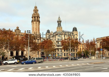 BARCELONA, SPAIN - december 12, 2015: Passeig de Colom, city center .Barcelona, Spain. One of the main touristic places in the City, which every Tourist passes on the way to the Beach - stock photo