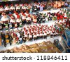 BARCELONA, SPAIN - DECEMBER 11: Some caganers, a character in Catalan mythology relating to a Christmas tradition in Catalonia, at the Santa Llucia Festival, on December 11, 2011, in Barcelona, Spain. - stock photo