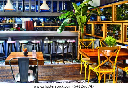 Barcelona, Spain   20 December 2016   The Interior Design Of A Restaurant  And Seating