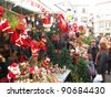 BARCELONA, SPAIN - DECEMBER 11: Unidentified people visit Santa Llucia Festival to buy Christmas decoration, such as pine trees and crib figures, on December 11, 2011, in Barcelona, Spain. - stock photo