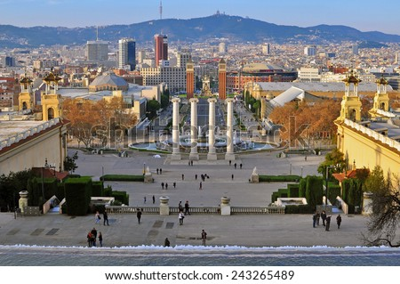 BARCELONA, SPAIN - DECEMBER 20: View of Square of Spain in centre of Barcelona on December 20, 2014. Barcelona is the secord largest city of Spain.