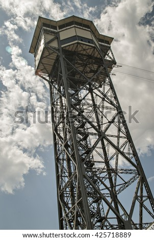 BARCELONA, SPAIN, EU - MAY 03, 2011: Teleferic. Port Vell Tower. Cablecar