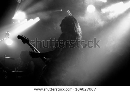 BARCELONA, SPAIN - FEB 6: Alcest (French shoegaze band from Bagnols-sur-Ceze) performs  at Apolo stage on February 6, 2014 in Barcelona, Spain.