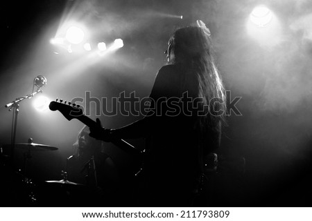 BARCELONA, SPAIN - FEB 6: Alcest (French shoegaze band) performance at Apolo stage on February 6, 2014 in Barcelona, Spain.