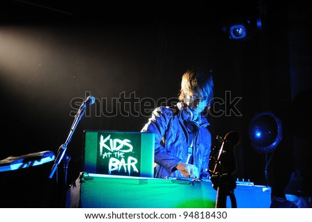 BARCELONA, SPAIN - FEB 09: Kids at the Bar DJ's performs at Apolo on February 09, 2012 in Barcelona, Spain. - stock photo