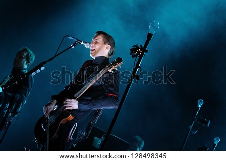 BARCELONA, SPAIN - FEB 16: Sigur Ros band performs at Sant Jordi Club on February 16, 2013 in Barcelona, Spain.